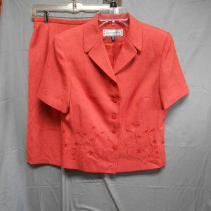Travis Ayers burnt orange 2 pc skirt blazer 12P